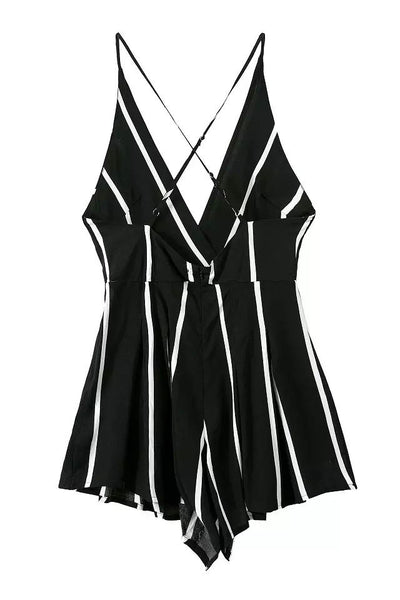 Stripe Backless Sexy Braces Piece Romper