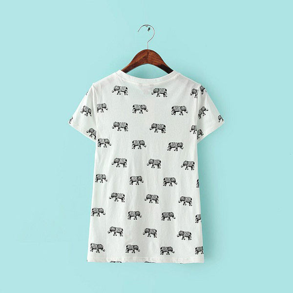 Elephant Totem Printing Vest Bottoming Round Neck T-shirt - lilyby
