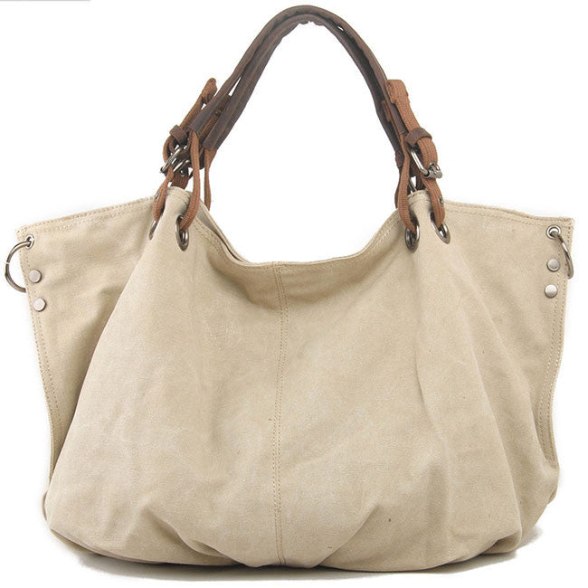 Simple Large Capacity Corrugated Travel  Women Thick Canvas Shoulder Bag Handbag