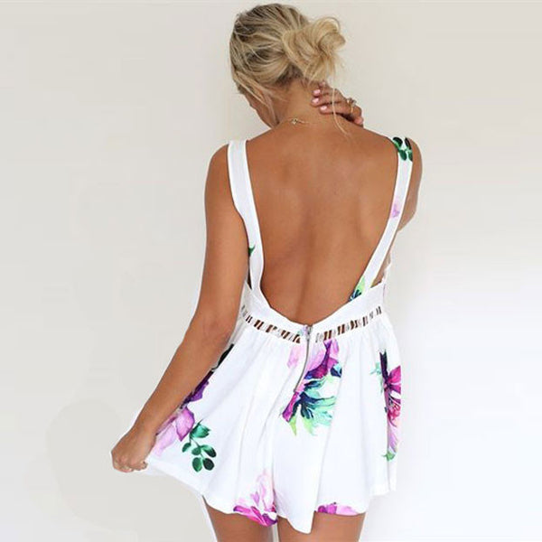 Strapless Floral Backless Braces Piece Romper