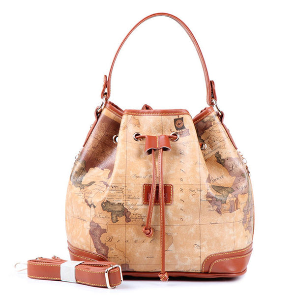 Unique Retro World Map Bucket Handbag Messenger Bag Shoulderbag