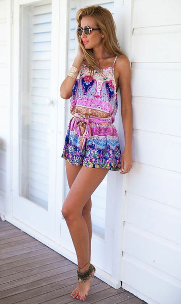 Folk Printing Braces Floral Piece Romper - lilyby