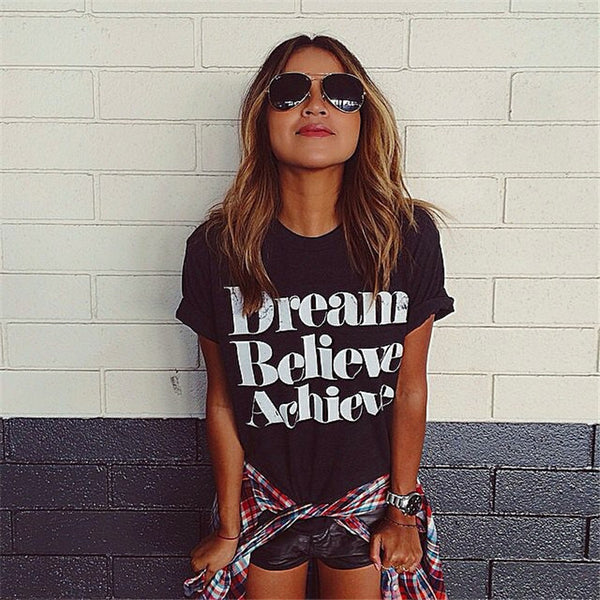 Dream Believe Achieve Crack Letters Printed Short-sleeved T-shirt - lilyby
