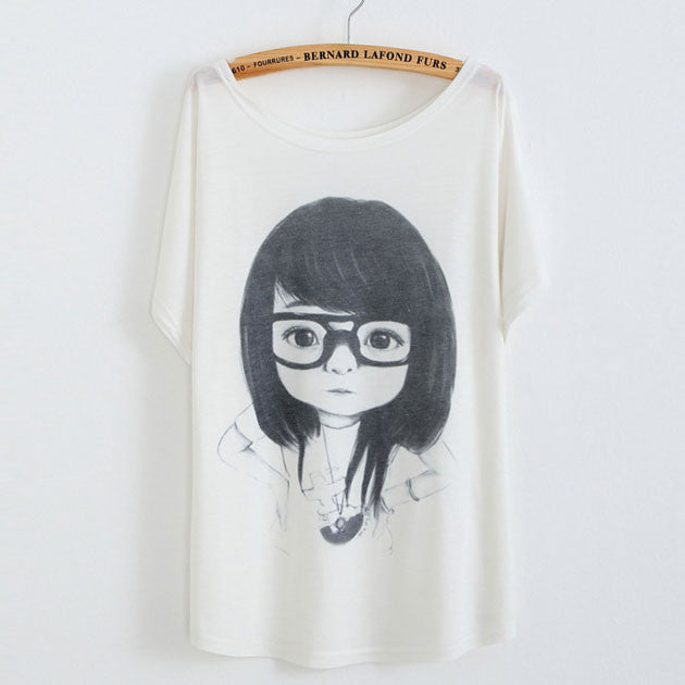 Little Girl Wearing Eye Printed Cotton T-Shirt - lilyby