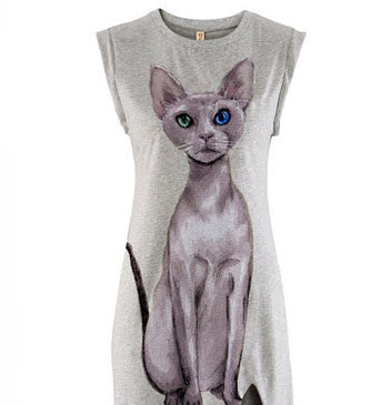 Light Gray Cat Print One Side High Slit Long Dress - lilyby