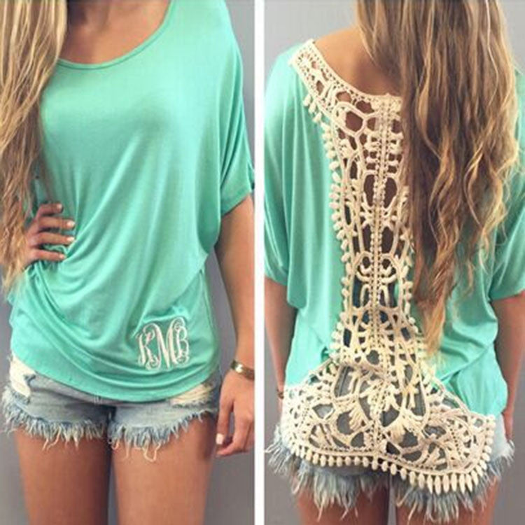 Fashion Green Loose Crochet Lace T-Shirt - lilyby