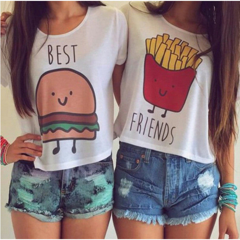 Cartoon Printing T-shirt Women Girl Best Friend Casual Blouse Tops - lilyby