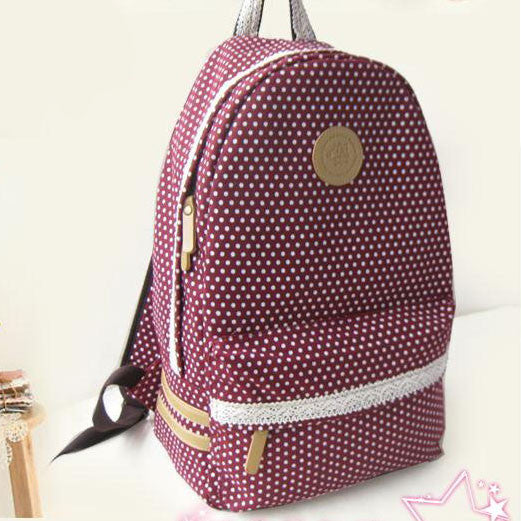 Pretty Lace Dot Print School Backpacks - lilyby