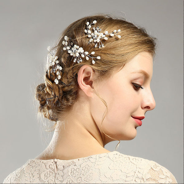 Unique Leaves Flower Pearl Branch Headband Wedding Hair Accessories Hair Clips
