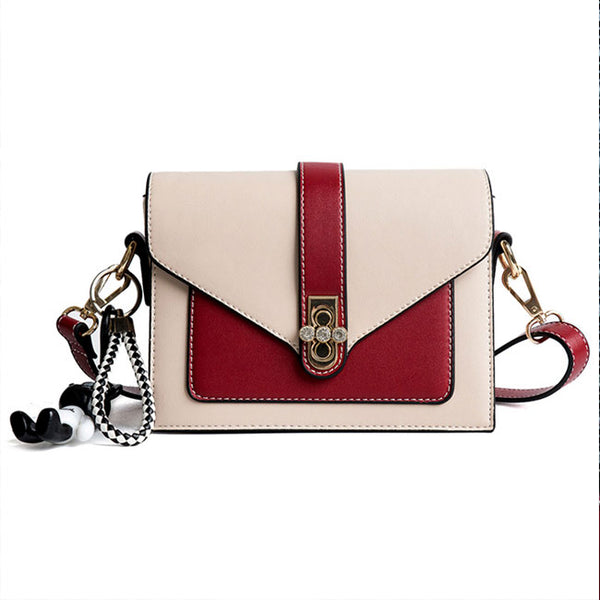 Fashion Diamond Buckle Messenger Bag Women Contrast Color Shoulder Bag