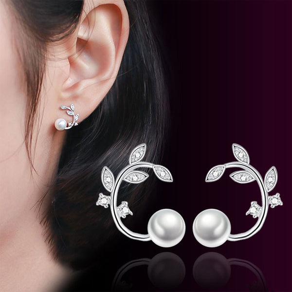 Cute Flower Pearl Simple Branch Leaves Bending Earrings Studs