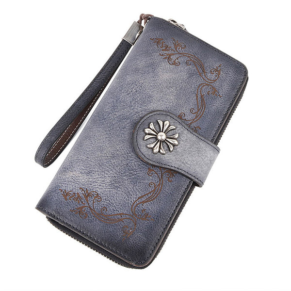 Retro Embroidered Single Buckle Cowhide hand-washed Long Ladies Wallet Original Leather Purse Clutch Bag