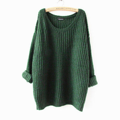 Round Neck Variegated Long Loose Wool Sweater