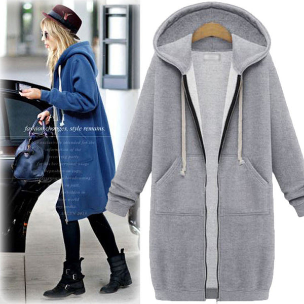 New Hooded Long-sleeved Sweater Coat Long Coat Thicker Coat Pullover
