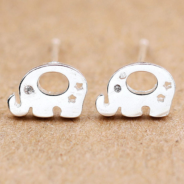 Sweet Animal Earring Studs Women Silver Elephant Earrings Studs
