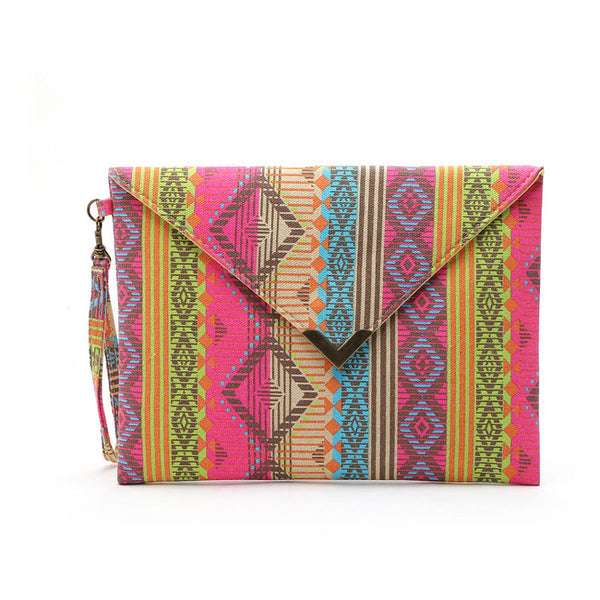 Geometric Printed Canvas Envelope Bag Clutch bag