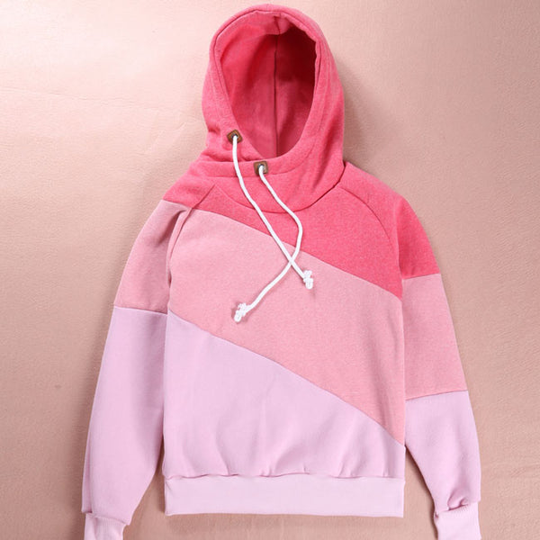 Fashion Women's Contrast Color Stitching Hoodie Pullover Sweater Cashmere Wool Sports Overcoat