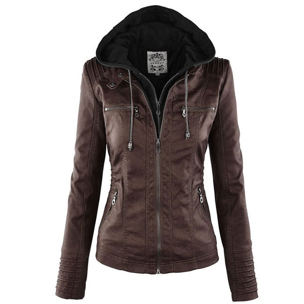 Women's Winter PU Leather Jacket Fashion Fall Winter Faux Leather Detachable Fake Two-piece Hood Zipper Jackets Coat