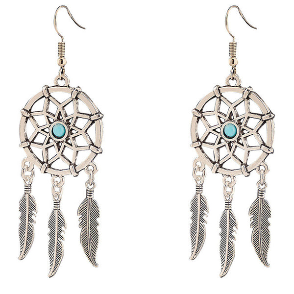 Folk Dreamcatcher Feather Tassels Women's Vintage Earring Studs Eardrop