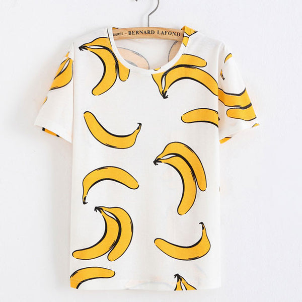 Banana Printed Cotton T-Shirt In White - lilyby