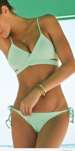 New Mint Green Bandage Push-up Bikini Set Padded Bra Triangle Swimsuit - lilyby