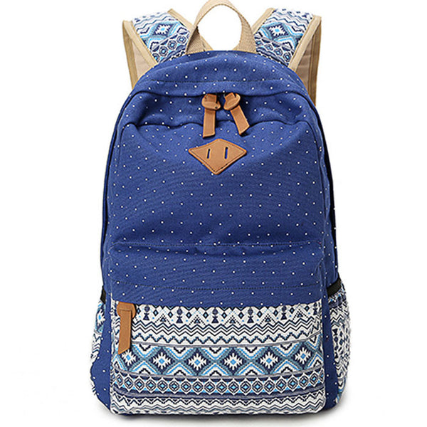 Folk Leisure Polka Dot Rucksack Bohemia Trunk College Canvas Backpack - lilyby