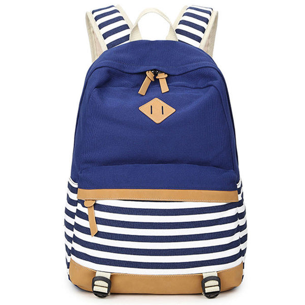 Fresh Splice Striped Trunk Travel Rucksack School Canvas Backpack - lilyby