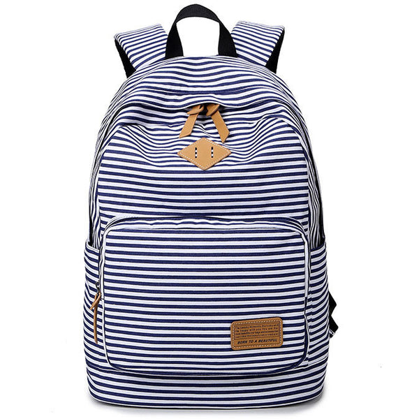 Fresh Trunk Student Travel Canvas Backpack Stripe High School Bag Rucksack