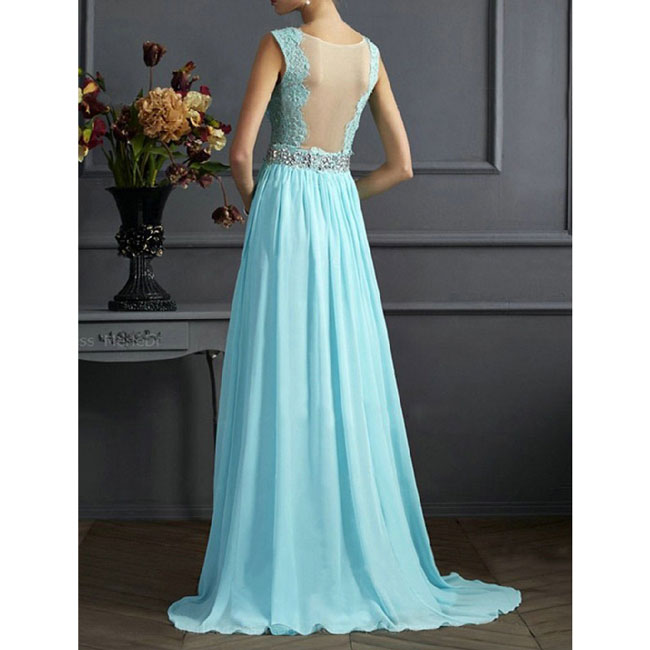 Elegant V-neck Sequins Backless Formal Prom Gowns Long Maxi Dress ...