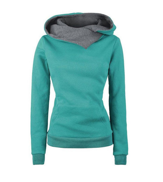 Fashion Lapel Pure Color Long Hooded Section Sweater