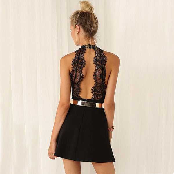 Fashion Black Sleeveless Halter Contrast Lace Backless Dress Party Dress - lilyby