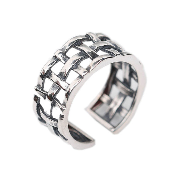 Retro 925 Sterling Silver Women Open Weave Knot Ring