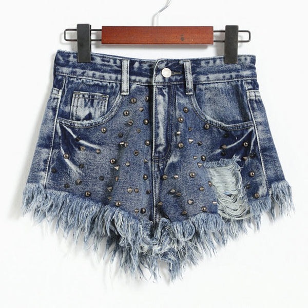 Summer High Waist Denim Shorts  Stereo Rivet  Pants Jeans Silm Wonmen Shorts