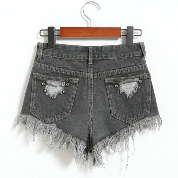 New Letters Printed Ragged Edges Rivet High Waist Denim Shorts Jeans Wonmen Shorts-Black - lilyby