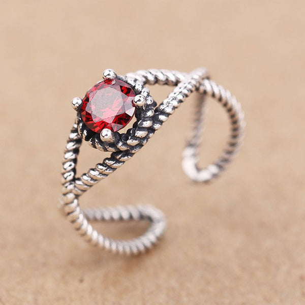 Retro Red Black Zircon Twist Silver Open Rings