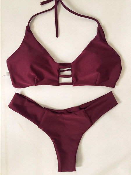 Wine Red Sexy Bikini Set Swimsuit Beach Bathing Suits For Women