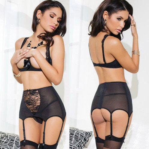 Cupless Extreme temptation Lingerie Black Mesh Hollow Sleepwear Lingerie Set