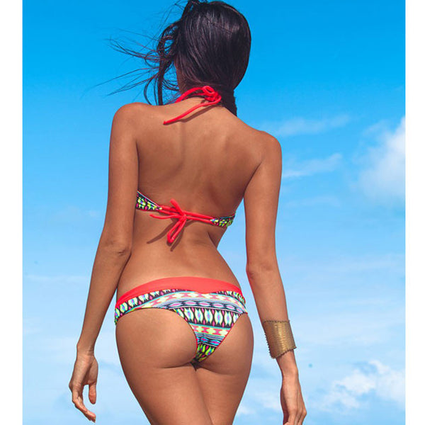 Folk Red Swimsuit Sexy Bikini Swimwear Bathing Suit - lilyby