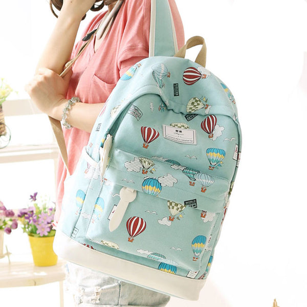 Cute Girl's Canvas Junior High Cartoon Hot Air Balloon Printing School Backpack
