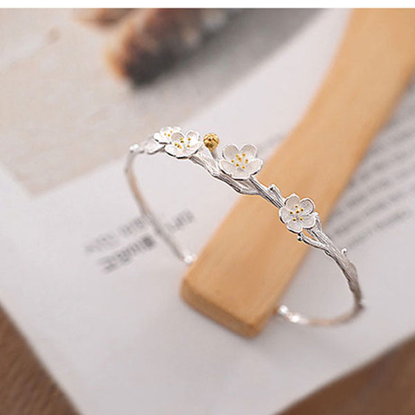 Fresh  Flower Cherry Branch Lover Gift Jewelry Women Bracelet Silver Open Bracelet