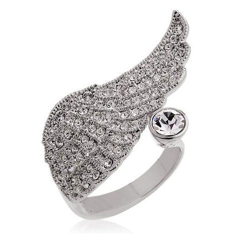 Graceful Angel Wings Crystal Ring - lilyby