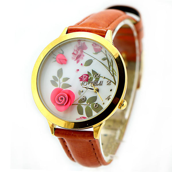 New Flower Gold Edge Polymer Clay Watch - lilyby