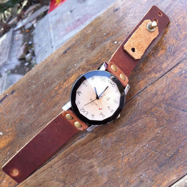 Handmade Digital Algorithm Dial Leather Watch - lilyby