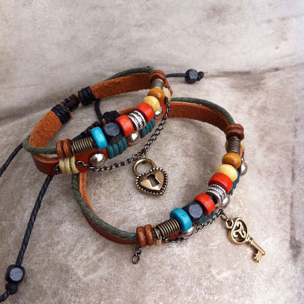 Handmade Leather Weave Lovers Bracelets - lilyby
