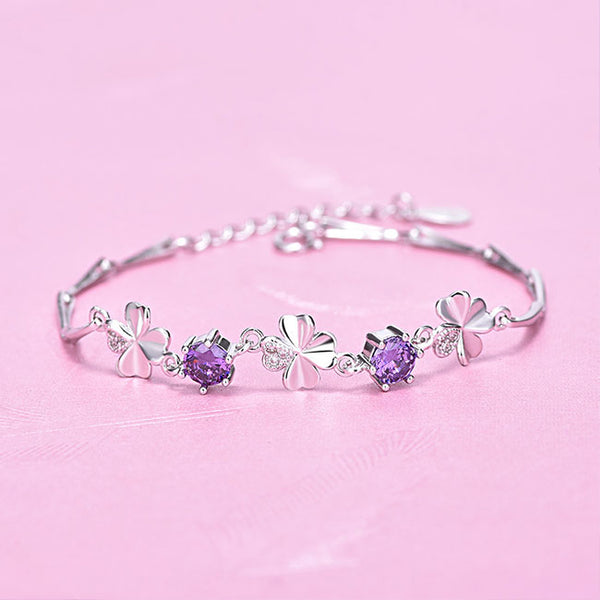 Cute Four-leaf Clover Amethyst Girl Friend Gift Flower Silver Women Bracelet