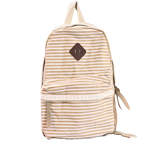 Retro Striped Lace Canvas School Backpacks - lilyby