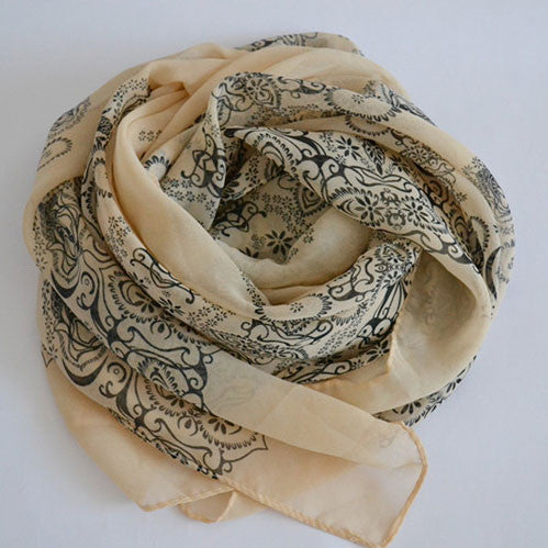 Soft Chiffon Printed Porcelain Long Scarf