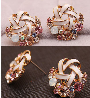 Colorful Flower Crystal Earring Studs - lilyby