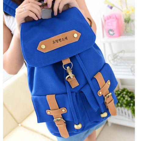 Retro Two Pockets School Fashion Canvas Backpacks - lilyby