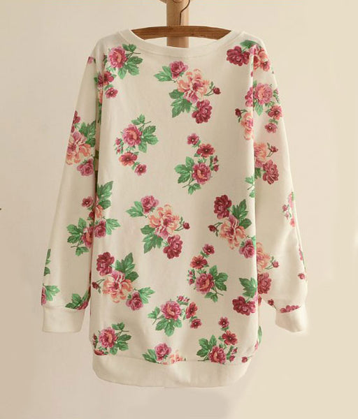 Latest Floral Loose Bat Sleeve Round Neck Sweater - lilyby